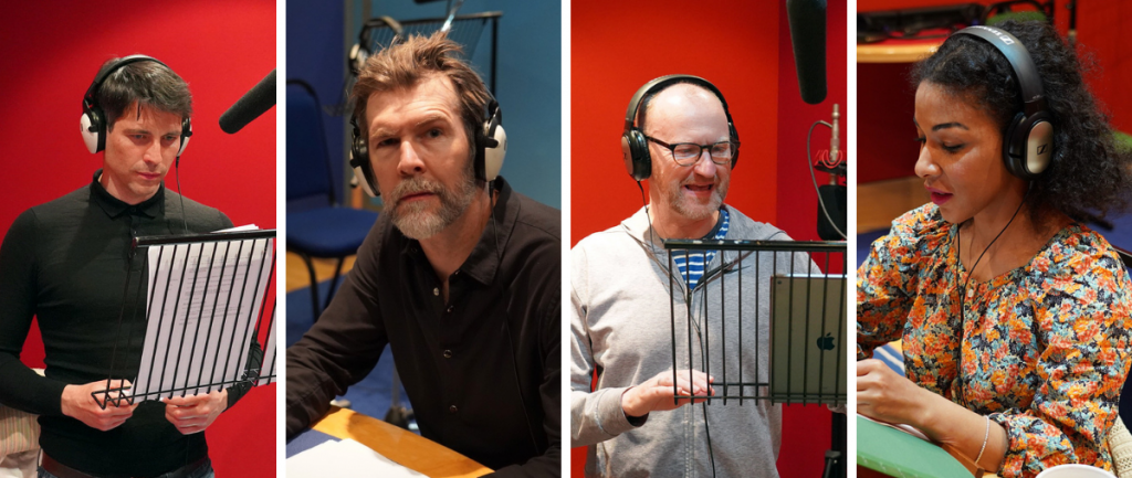 Photo of cast studio recordings for 'Getting Better' including Rob James-Collier, Rhod Gilbert, Mark Gatis & Kathryn Drysdale